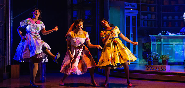 From left: Starr Domingue as Crystal, Vanessa Sears as Ronnette and Camille Eanga-Selenge as Chiffon in Little Shop of Horrors. Photography by Cylla von Tiedemann.