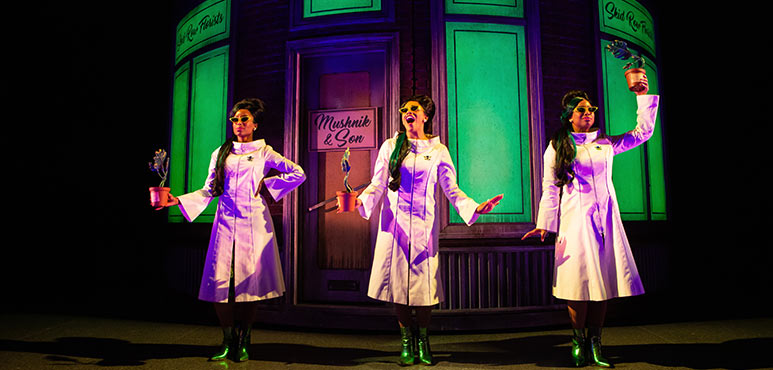 From left: Camille Eanga-Selenge as Chiffon, Vanessa Sears as Ronnette and Starr Domingue as Crystal in Little Shop of Horrors. Photography by Cylla von Tiedemann.