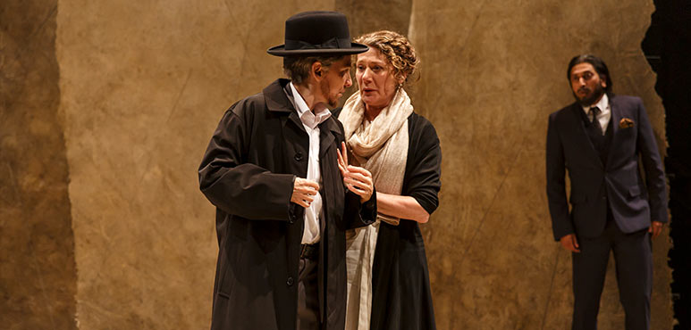 Diane Flacks (left) as Nathan and Sarah Orenstein as Daya with Shelly Antony (background) as Al-Hafi in Nathan the Wise. Photography by David Hou.