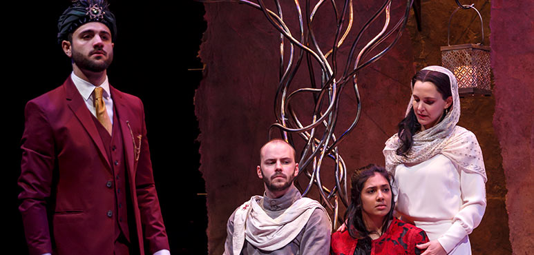 From left: Danny Ghantous as Saladin, Jakob Ehman as A Knight Templar, Oksana Sirju as Rachel and Miranda Calderon as Sittah in Nathan the Wise. Photography by David Hou.