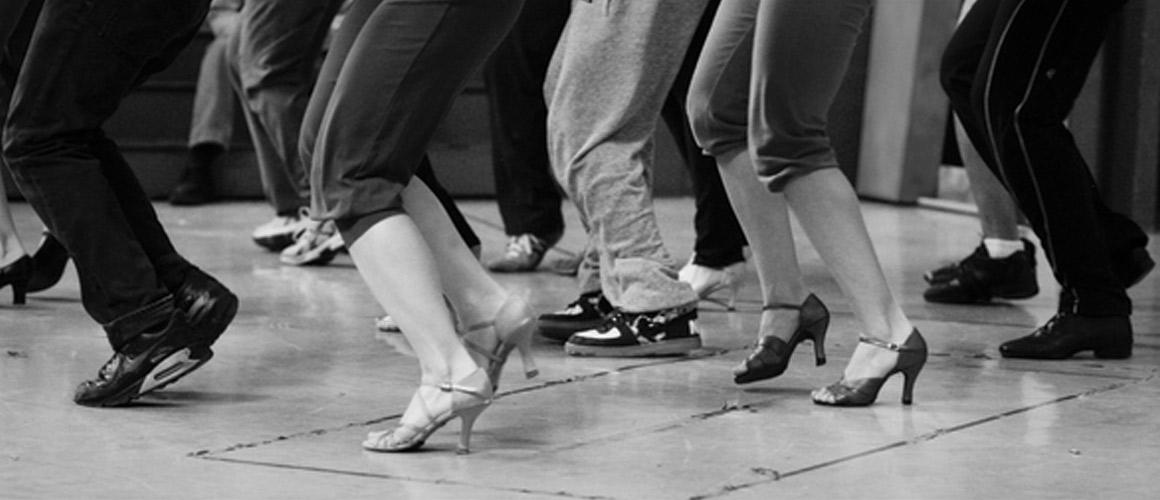 Archival photograph of a dance workshop.