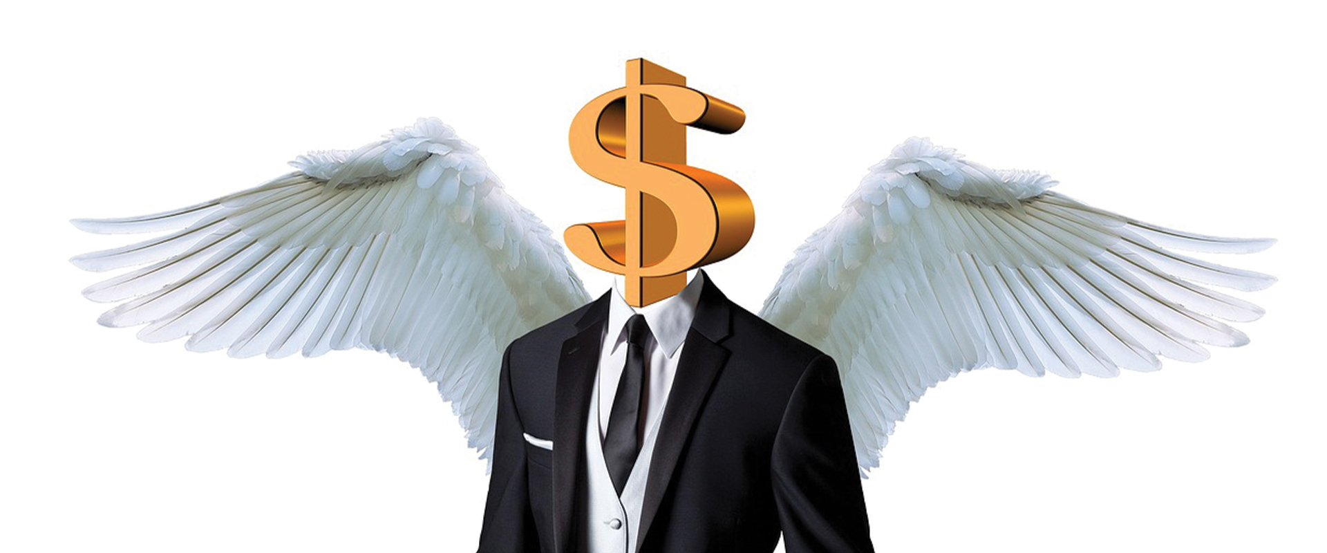 An artist rendition of an angel with a dollar sign for a head.