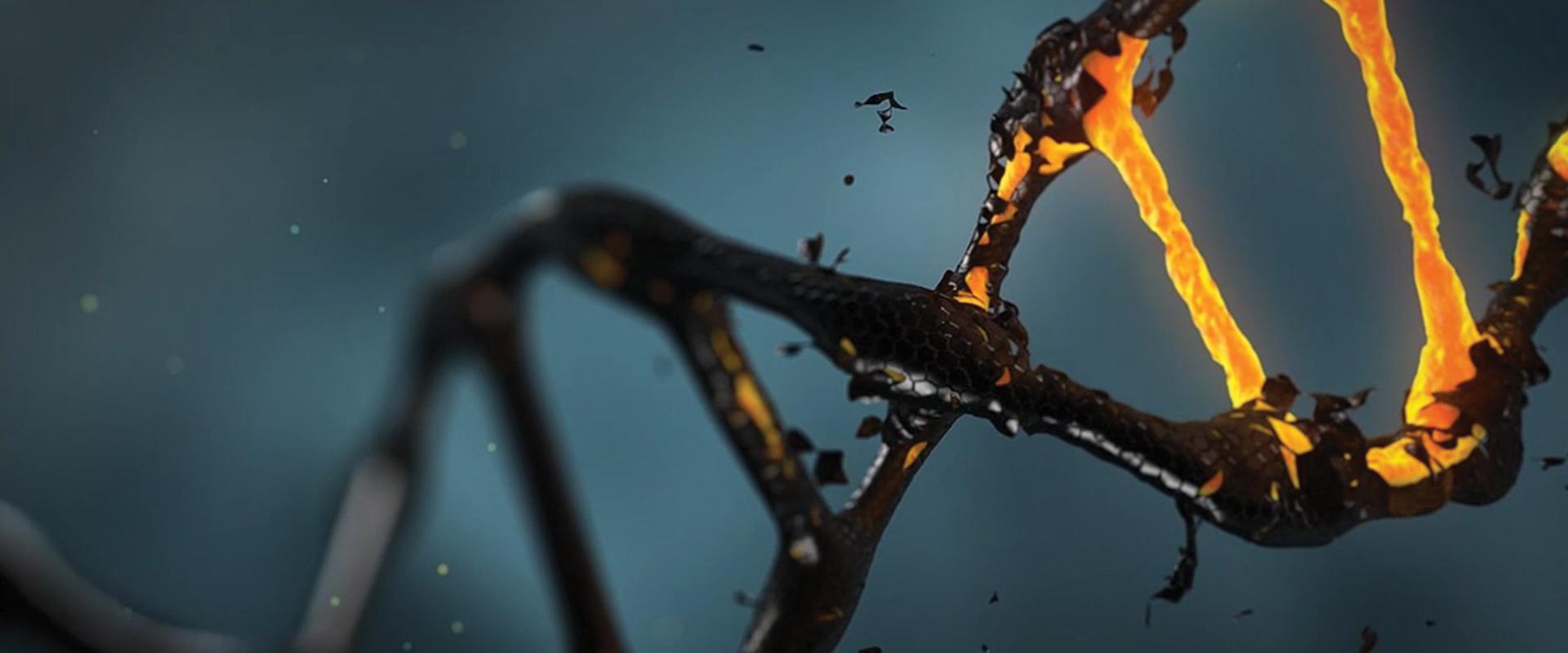 DNA strand shedding black goop