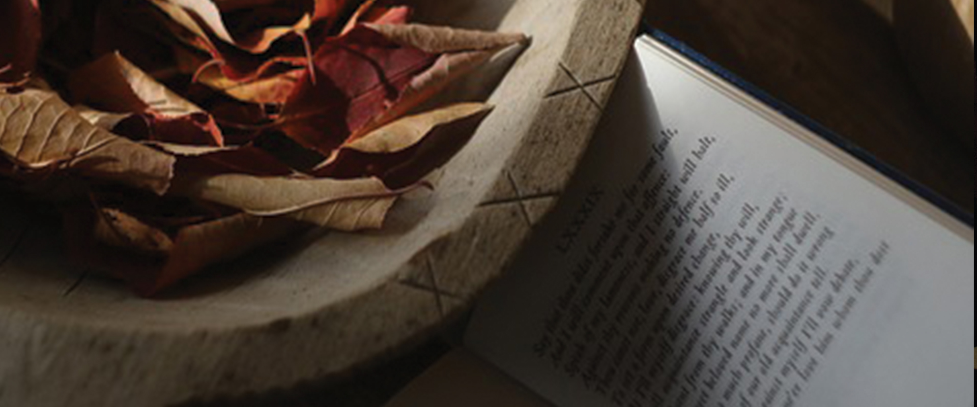 a photo of a bowl of leaves and a book of poems